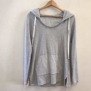 James Perse Striped Pullover Sweatshirt Hood 3